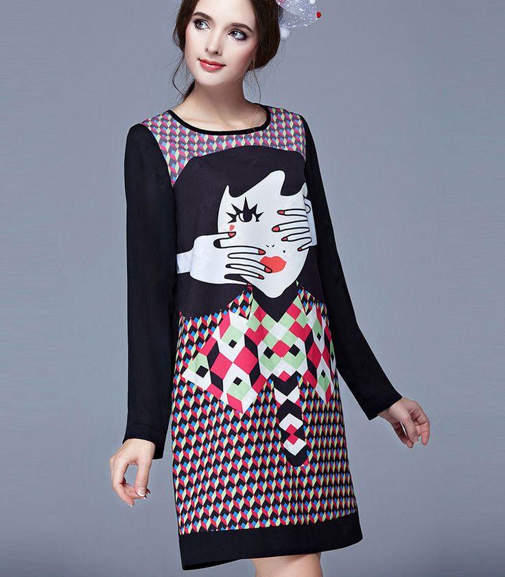 http://www.kalimeramark.ro/rochie-cu-maneci-lungi-imprimeu-fashion KalimeraMark magazin online haine pentru femei Rochita trei sfert cu maneci lungi si imprimeu mare la moda, cap femei si motive decorative -