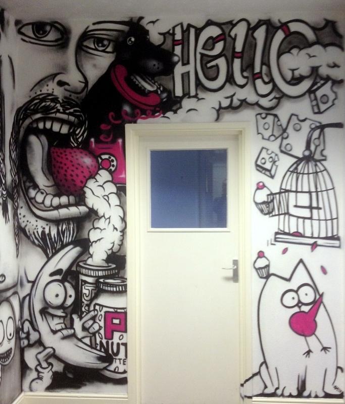 Graffiti at the MMK Media office, produced by graffiti artist Anok
