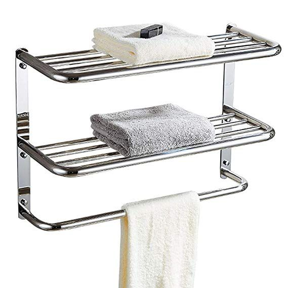 Amazon Com Kaileyouxiangongsi 24 Inch Shelf Towel Rack Stainless Steel Two Tier Home Kitchen Towel Rack Metal Bathroom Shelf Glass Bathroom Shelves