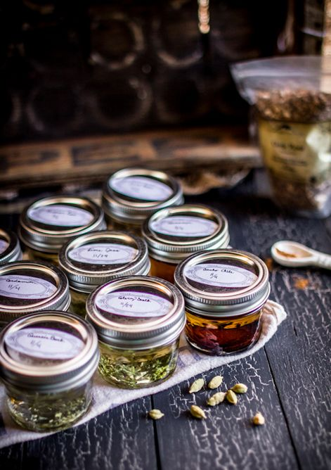 infused oils, no recipes...love the idea of doing them in the small jars