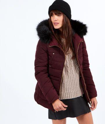 Doudoune capuche fausse fourure,  multi poches - Manteaux - La collection - Prêt-à-porter