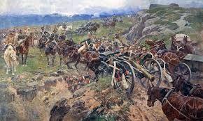 1. De schilder laat een eenheid zien die met kanonnen en paarden naar het slachtveld gaat. En in een hinderlaag terecht komen. Men probeert de kar door te duwen die vast zit en de lichamen liggen opgehoopt in een gracht. 2. De strijd laten ze hier zien door middel van de wapens en de slachtoffers, ook is het zo geschilderd dat het een grote puinhoop is geworden op het veld.