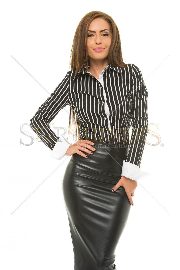 MissQ Casual Lines Black Shirt