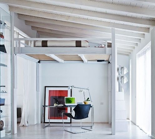 I would totally make my own loft for my bed if I had the ceiling space!! Done and done.