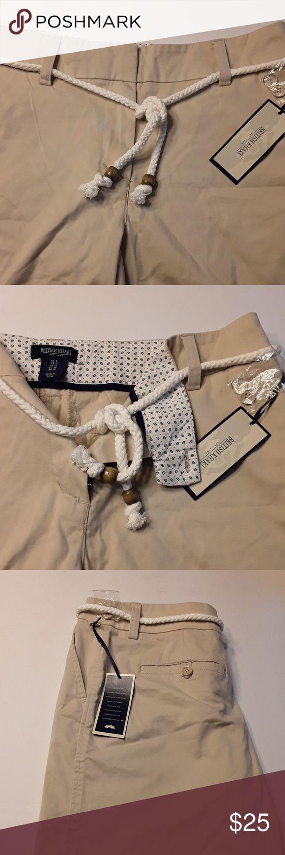 "{British Khaki} Khaki Nautical Shorts NWT: Super Soft Kahki Shorts by British Khaki. They come with a cute nautical rope belt. Front size pockets and Back hidden pockets. Measurements (flat): Waist 16"", Rise 9"" British Khaki Shorts"