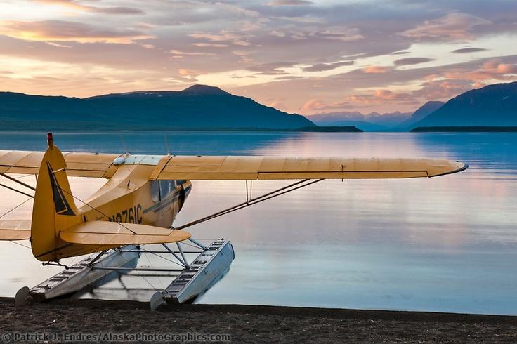 Supercub bushplane, Naknek lake sunrise
