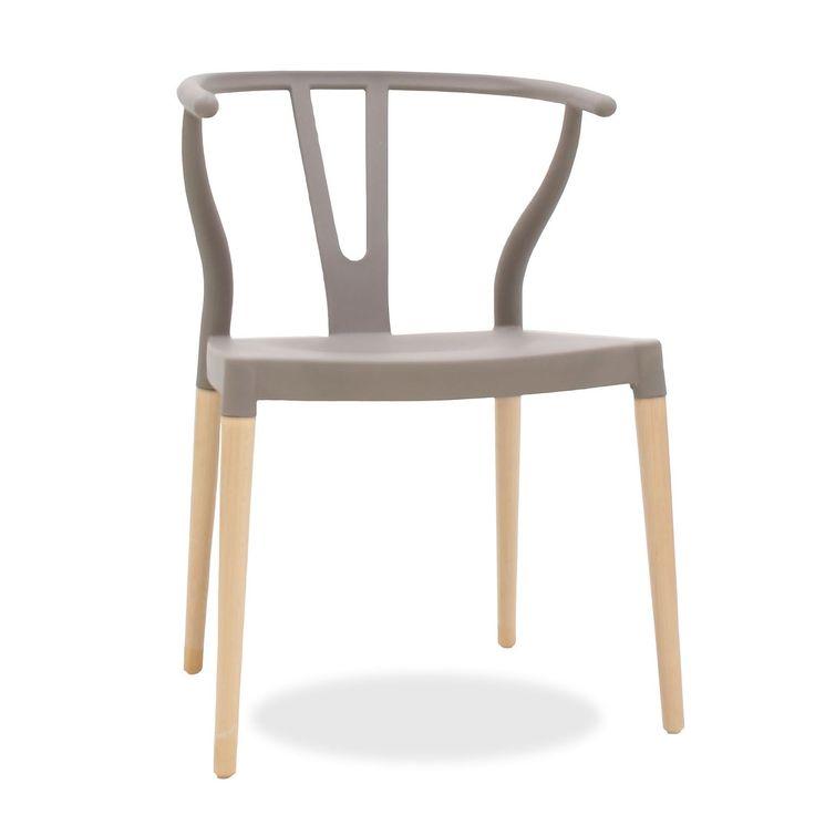 Silla FER -Polipropileno- (Kunststof stoelen met houten poten) Wishbone