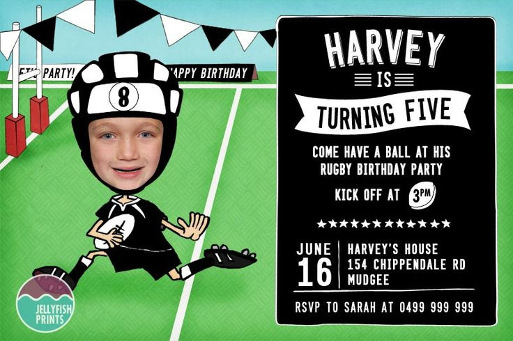Rugby party invitation. We made this invite in the NZ All Blacks colours. black and white. go the AB's!  perfect for the little rugby union player. we'll put your head in if you like. and change the colour theme to match your teams colours.