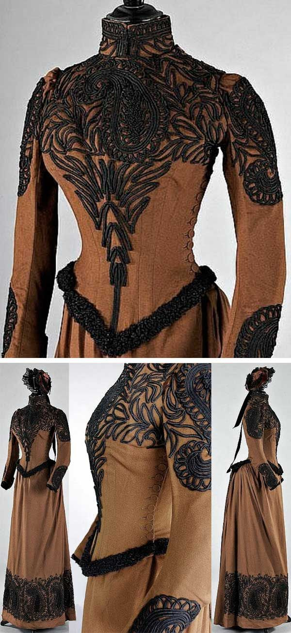 Walking suit, Redfern Paris, ca. 1889. Brown felted wool with black soutache braid and astrakhan trim. Fitted, boned bodice with side buttoning; skirt with fullness at the back; matching bonnet by Louise & Co of Regent Street, London. Kerry Taylor Auctions