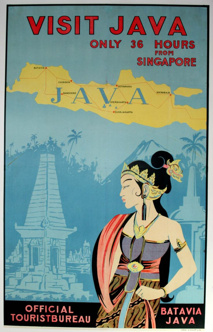 Visit Java, 1930s - original vintage poster by Druk G. Kollf & Co listed on AntikBar.co.uk - SOLD