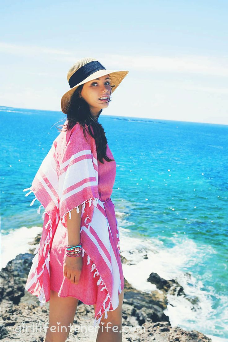 brunette in a straw hat and tunica - pink poncho shot for Ale-Hop