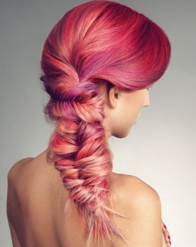 Braided red with pink and blonde highlights