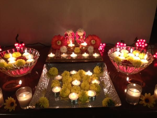 236 best pooja and festival decor images on pinterest for Simple diwali home decorations