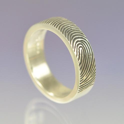 Fingerprint Wedding Ring 6mm Sterling Silver.