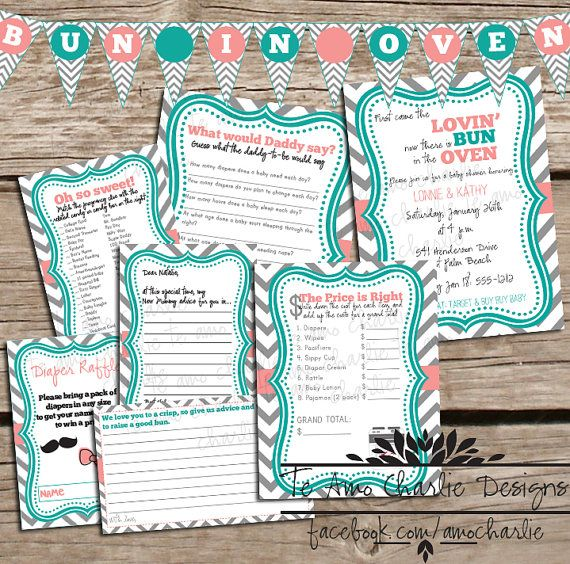 Printable Baby Shower Package   Bun In The Oven Baby Shower Games And  Invitations