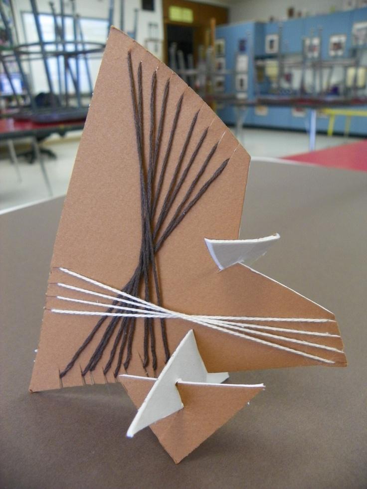 3D Cardboard Sculpture with Fibre Weaving. 2nd grade