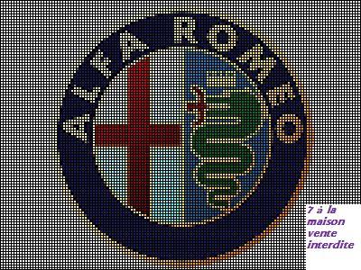 grille gratuite : le logo d'Alfa Roméo - Le blog de 7 à la maison, point de croix, tricot, grilles gratuites...
