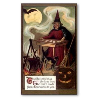 vintage witch fortune teller card