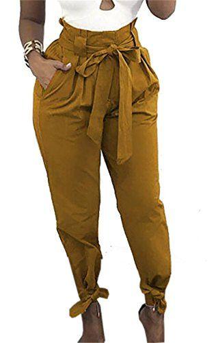 aba0d2459d9b JXG-Women Casual Belted Tie High Waist Baggy Jogger Harem Trousers Pants