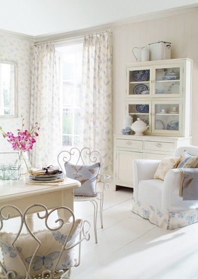 Shabby white with touches of light blue.