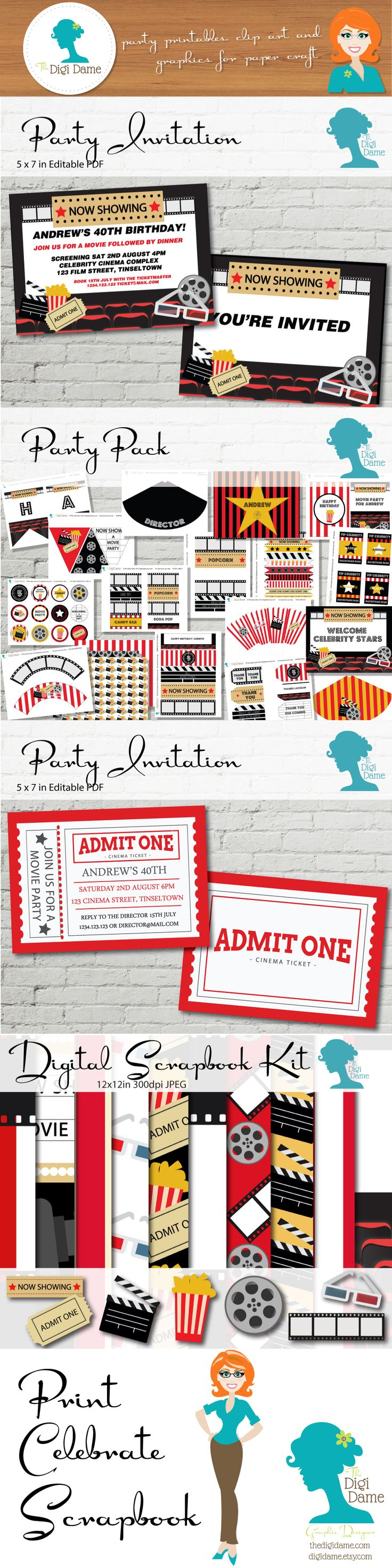 Movie Cinema Party! Print your Party, Celebrate it, then Scrapbook it, with The…