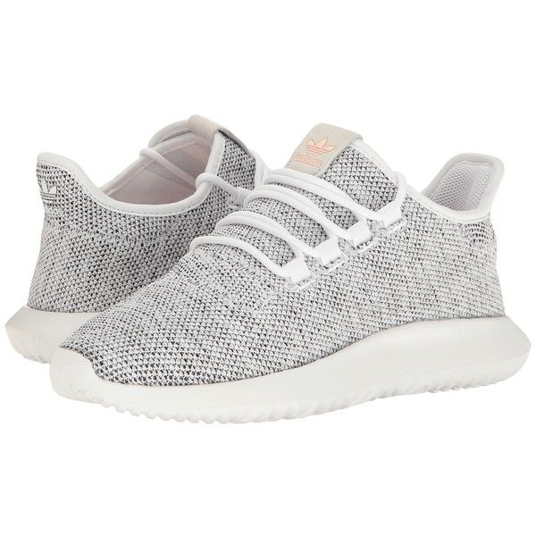 adidas Originals Tubular Shadow (Footwear White/Pearl Grey S14/Haze... ($100) ❤ liked on Polyvore featuring shoes, athletic shoes, gray shoes, white high heel shoes, white athletic shoes, white shoes and grey running shoes