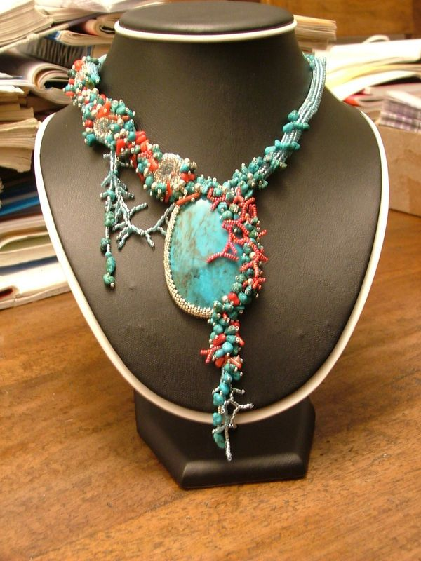 The Mermaid's Gift - freeform beadwoven necklace by PerLes & RocK.