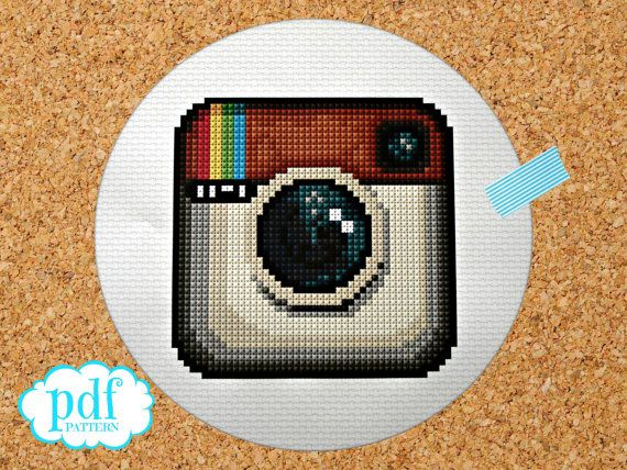 Instagram icon cross stitch pattern. Instant by cupcakecutie1, $5.00