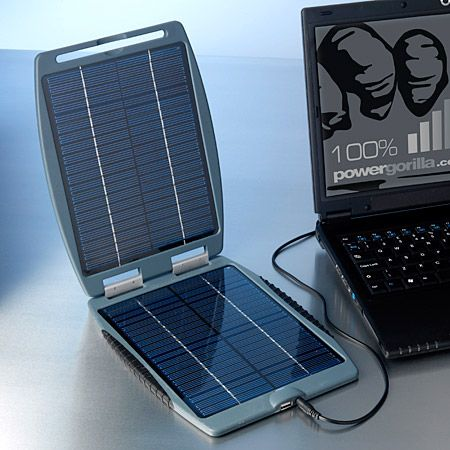 Solargorilla's 24 volt and 5 volt USB socket make it the ultimate renewable power station for your laptop, mobile phone, iPod and many more devices.  Solar gorilla solar charger works via two PV (photovoltaic) solar panels, which generate electric current when they are exposed to light.
