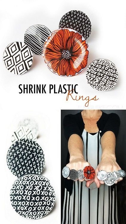 DIY Cocktail Shrink Plastic Ring Tutorial from Alisa Burke. Who can make shrink plastic look this...