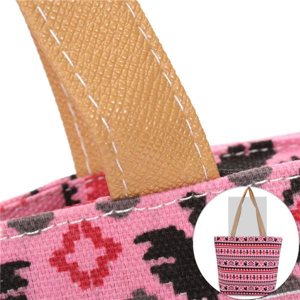 Women Bohemia Canvas Bags Casual Simple Handbags Large Capcity Shopping Bags
