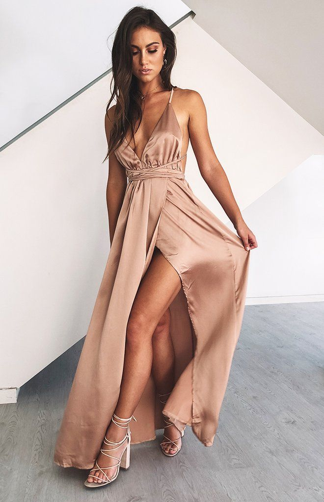 Incredibly Sexy V-Neck Long Prom Dress,Spaghetti Straps Evening Dress,Side Slit Prom Dress,…
