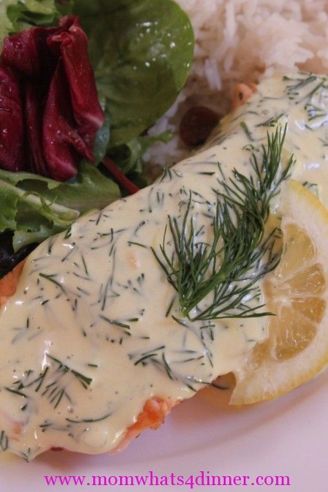 Easy Dill Sauce Recipe for Salmon http://momwhats4dinner.com/salmon-dill-sauce/
