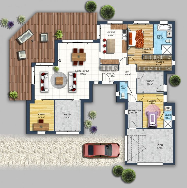 355 best maison images on Pinterest - plan maison sans couloir