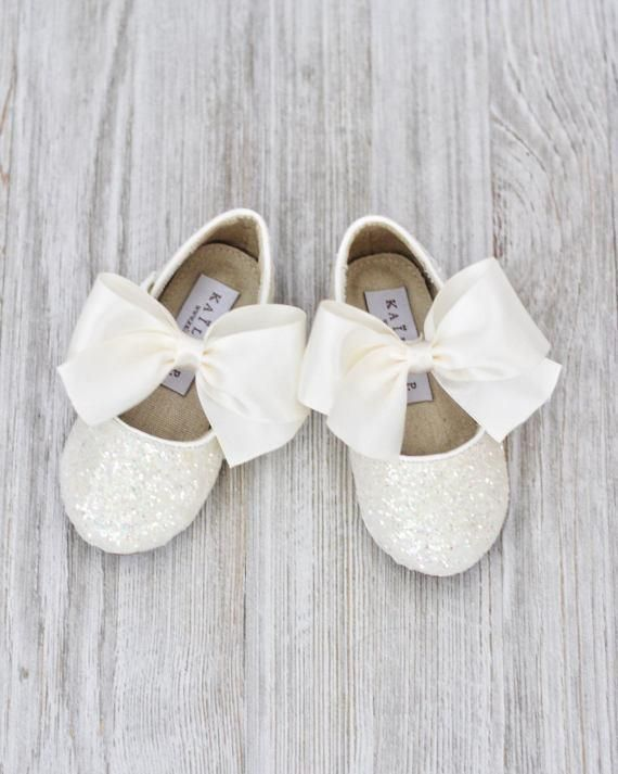 Girls shoe WHITE Rock Glitter Maryjane Flats With IVORY Satin Bow ,Kids Shoes- Kailee P #GlitterShoes