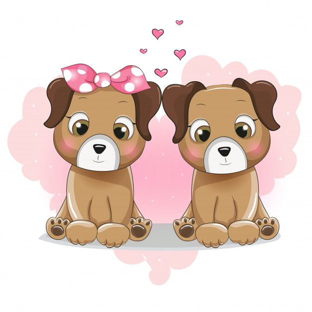 Two Cute Puppy Cartoon On Background Heart Cute Puppies Dog