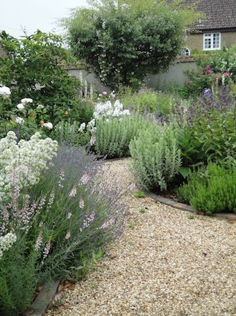 Typical English garden - Pea Gravel Garden Path....