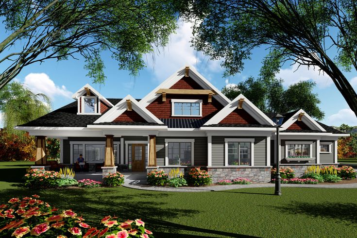 Ranch Style House Plan - 3 Beds 2.00 Baths 1983 Sq/Ft Plan #70-1418 Exterior - Front Elevation