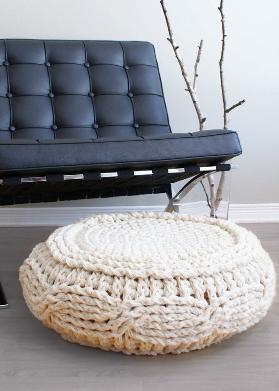 DIY Crochet PATTERN Crochet Cable Footstool by ErinBlacksDesigns Use tshirt yarn