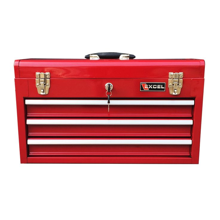Red Excel TB133 20-Inch Portable Steel Tool Box (20.5 L x 8.6 D x 11.8 H Inches, Red)