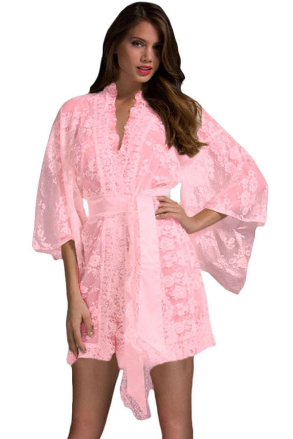 Pink Belted Lace Kimono Nightwear LAVELIQ Material: Polyester+Spandex Size: (US 8-10)M,(US 12-14)L,(US 16-18)XL Color: Pink Style: Cute, Sexy Occasion: Summer, Autumn, Bedtime Pattern: Solid Neckline:
