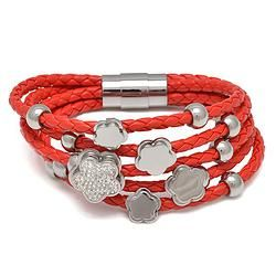 Red Leather Braid Bracelets