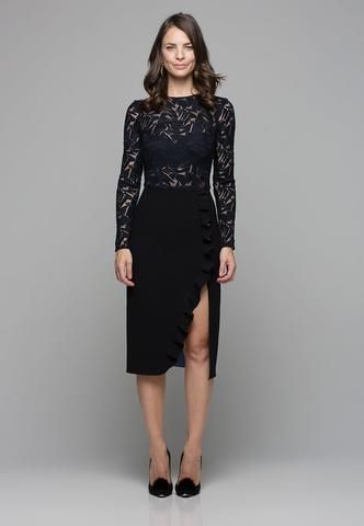 Embroidered Tulle Arabella Dress - Black