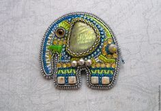 """Купить Брошь """"Слоник-романтик"""" - разноцветный, серый, зелёный, синий, лабрадорит, лабрадор, брошь, слон"""
