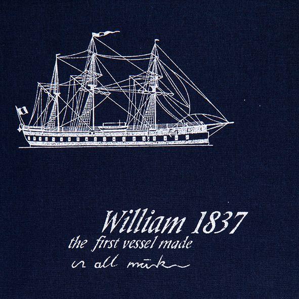 Bavlněná látka Lodě William na temně modré