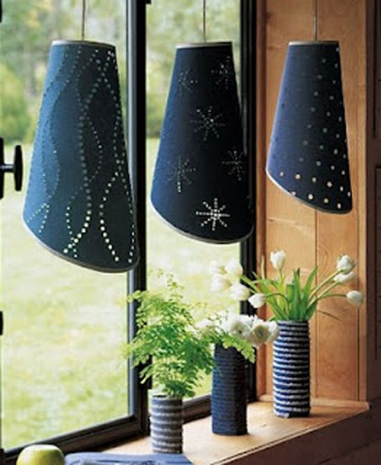 Denim light coverings and vases, such a fun idea for your home!
