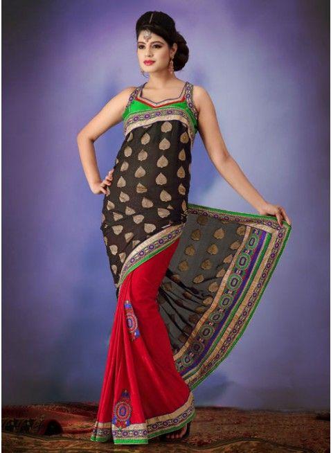 Stunning deep crimson and black embroidered #saree #designersares #clothing #fashion #womenwear #womenapparel #ethnicwear