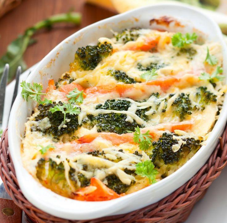 Auflauf mit Lachs, Brokkoli und Mozzarella Tags: