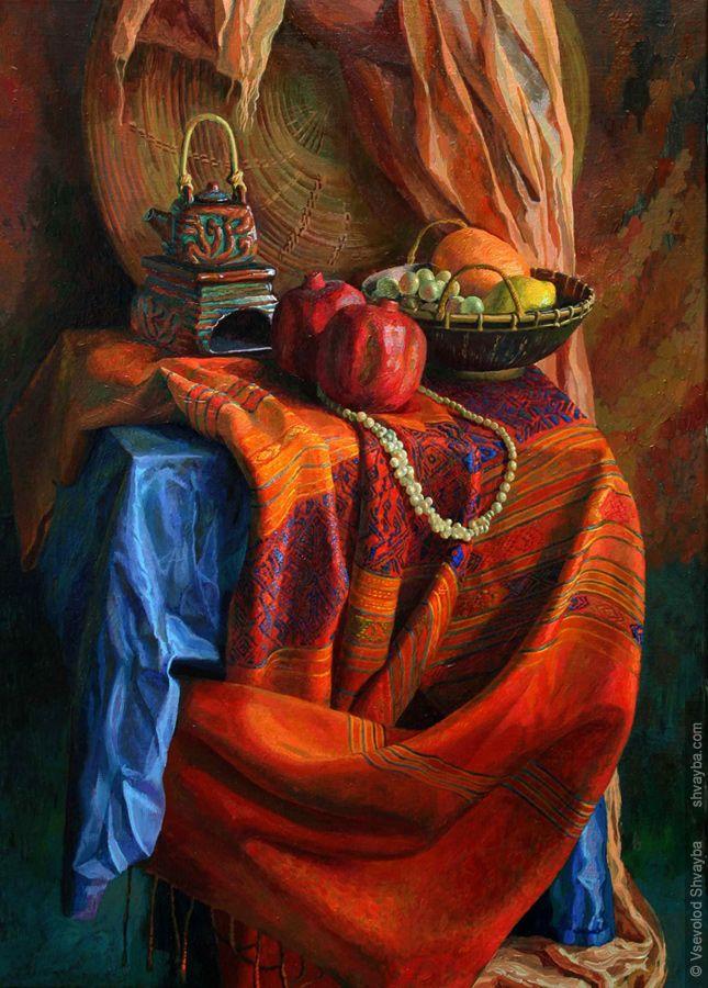 Still life with indian drapery  oils on canvas 70х50cm.