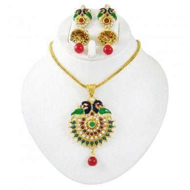 Pendent Necklace Sets Kundan Jewelry Set Goldtone CZ Stone Ethnic Jewellry